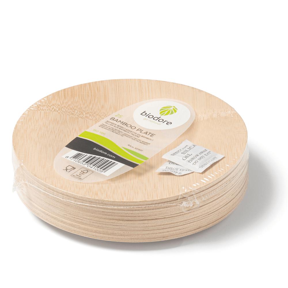 Biodore Bord 180 mm bamboe naturel 5 x 25 stuks
