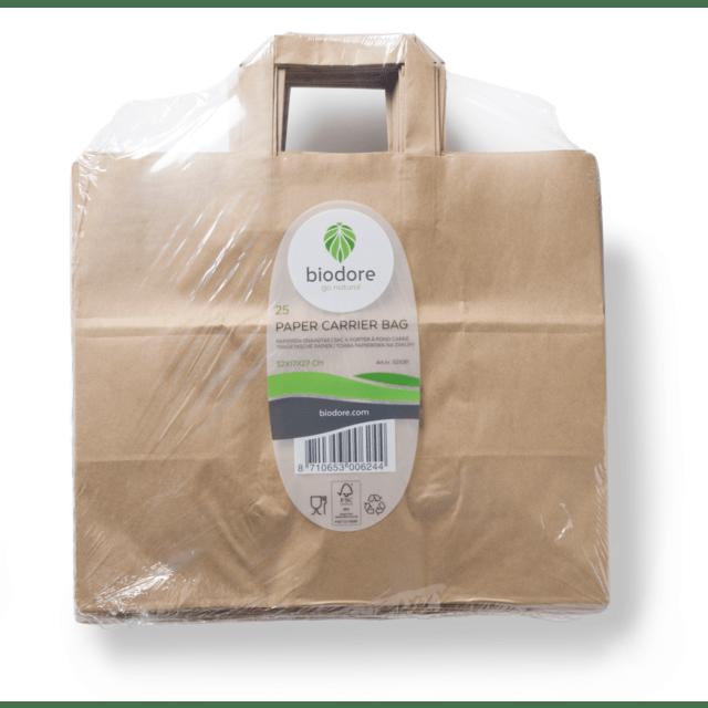 Biodore papier draagtas 32 x 17 x 27 cm 250 stuks