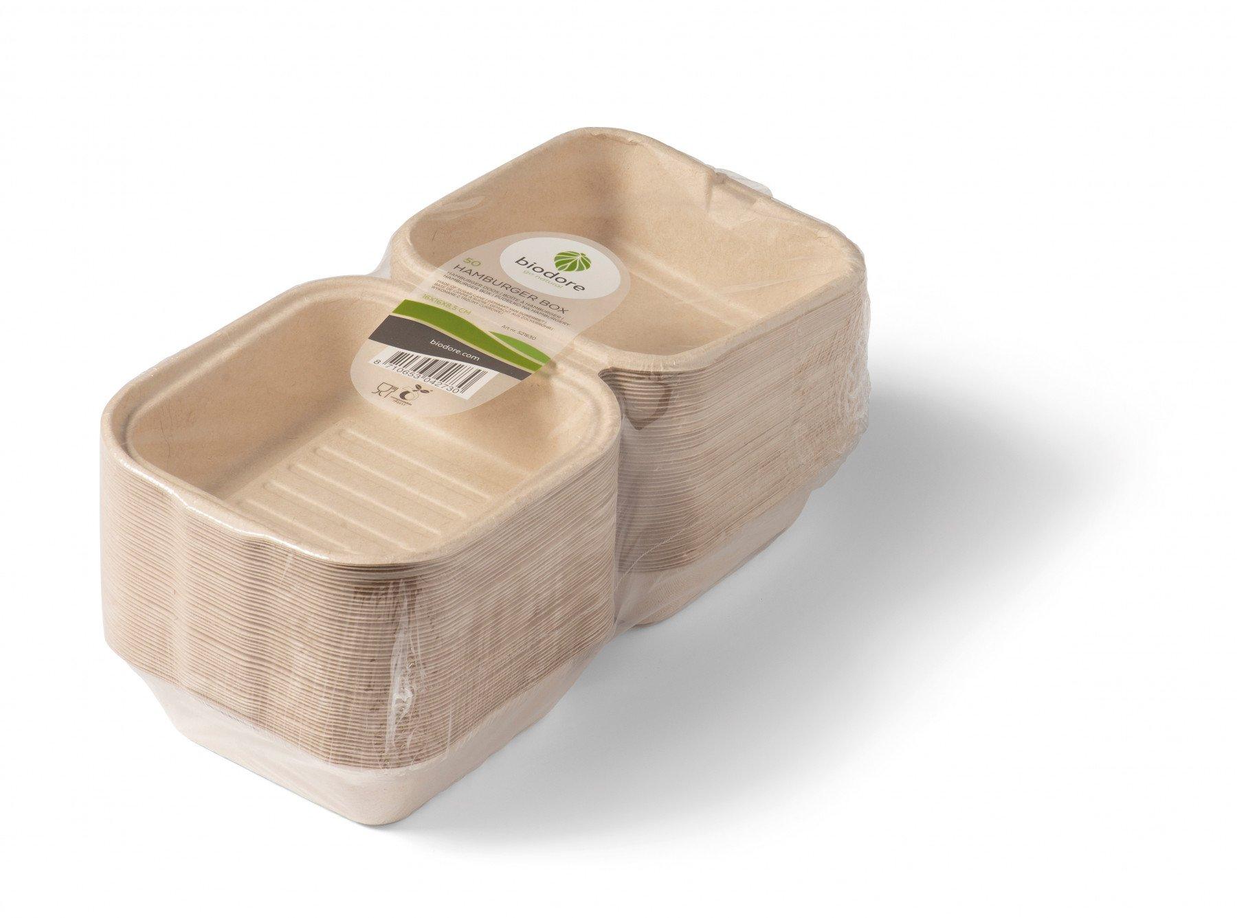 Biodore hamburgerbakjes suikerrietpulp 10 x 50 stuks