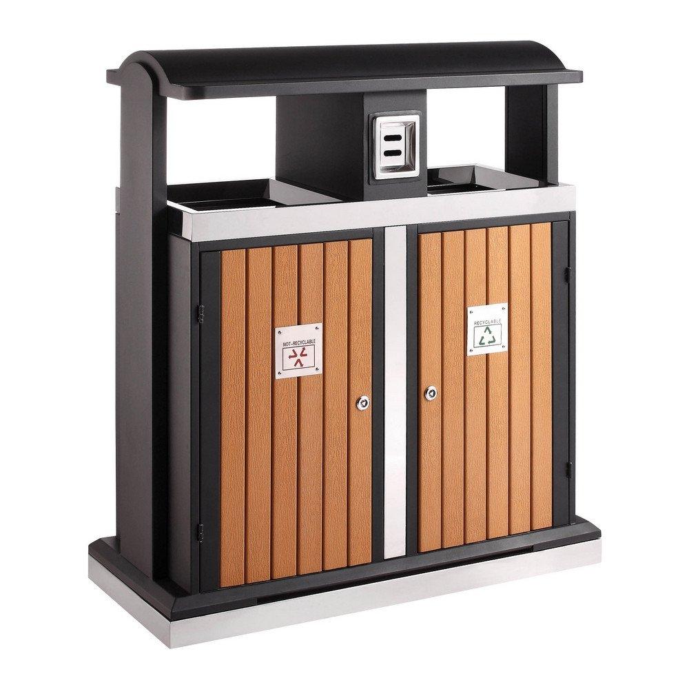 Buitenafvalbak afvalscheiding 2 x 50 liter houtlook