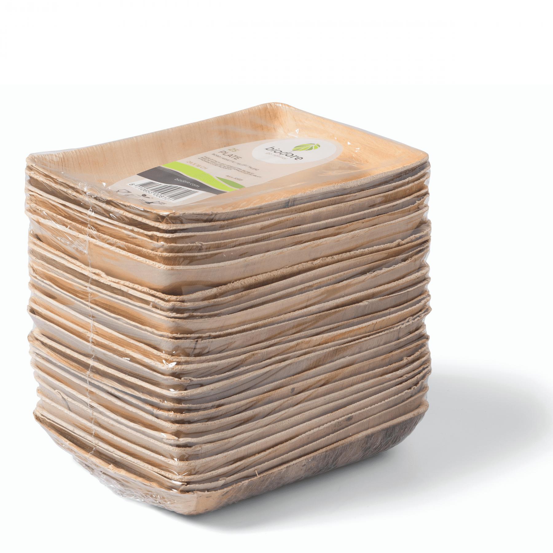 Biodore bord/schaal vierkant 8 x 25 stuks