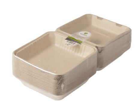 Biodore | Menubakjes | Suikerrietpulp | 80 x 230 x 230 mm | 4 x 50 stuks