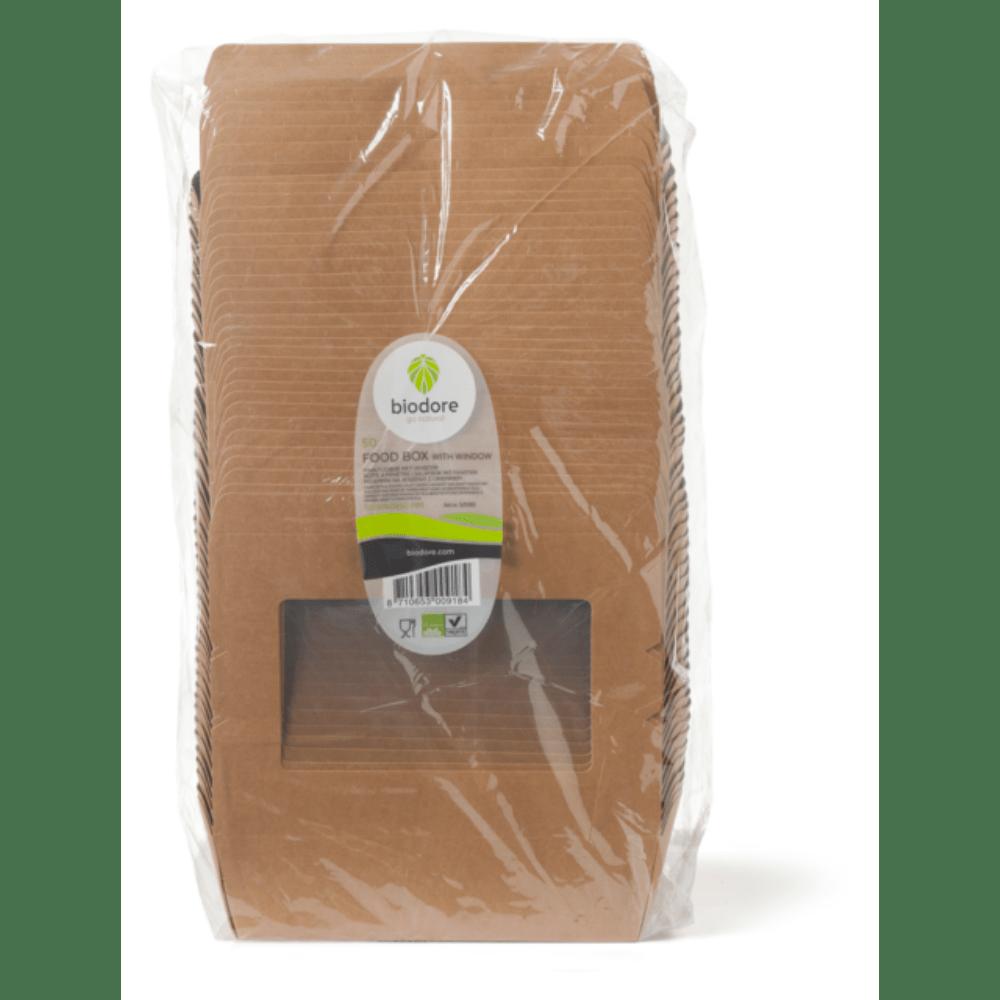 Biodore Kraft en PLA met venster cateringdoos 120 x 180 x 50 mm 4 x 50 stuks