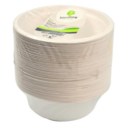 Biodore schaal bagasse wit 500 ml 10 x 50 stuks