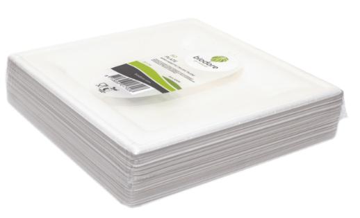 Biodore vierkant bord bagasse 20 cm 10 x 50 stuks