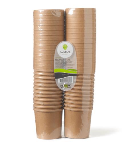 Biodore Soepkom en deksel Kraft 350 ml 20 x 25 stuks