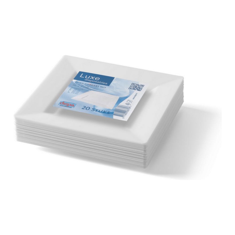 Bord Vierkant Wit 165 ml 10 x 20 stuks