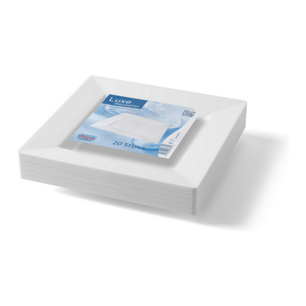 Bord Vierkant Wit 240 ml 10 x 20 stuks