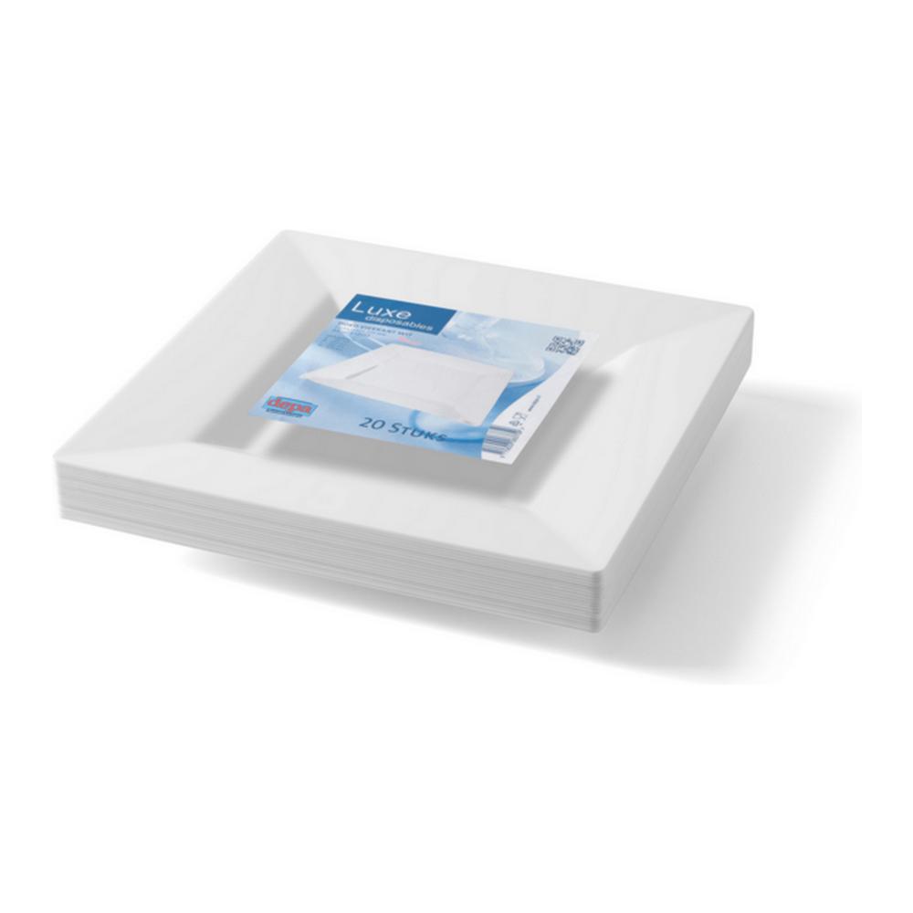 Bord Vierkant Wit 270 mm 5 x 20 stuks