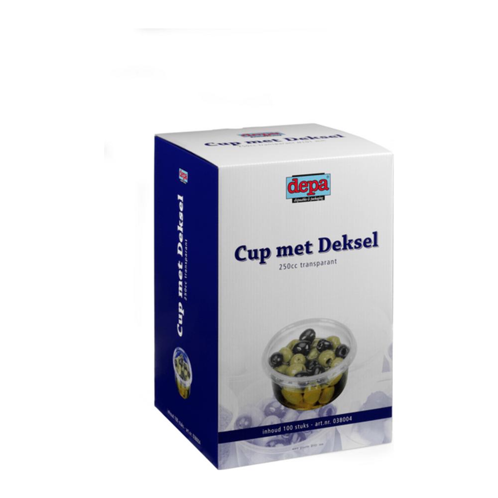 Cup met deksel 250 ml 100 stuks