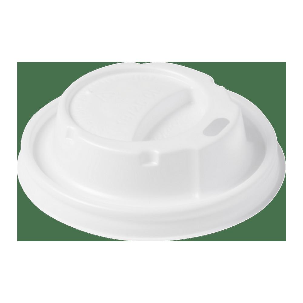Dome deksel Hot Cup wit met drinkgat 10x100 stuks