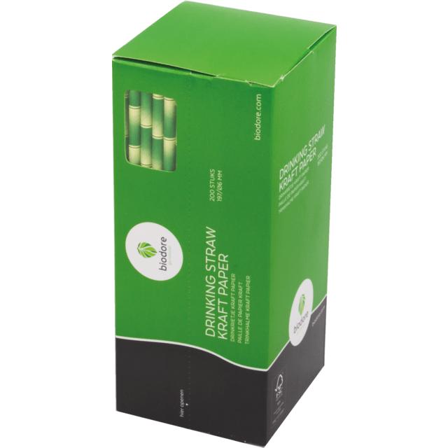 Biodore Rietje naturel/groen Papier 197mm 12x200 Rietjes