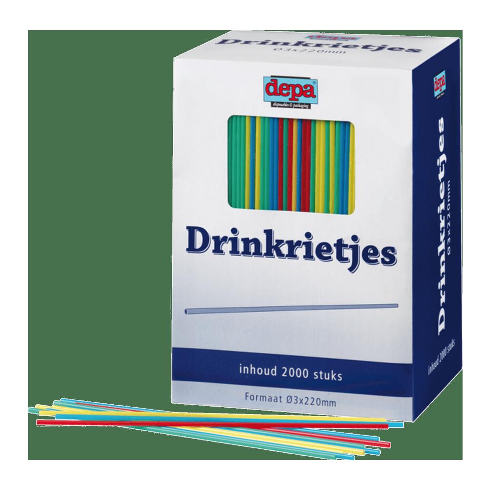Drinkrietje Uni Assorti 12 x 2000