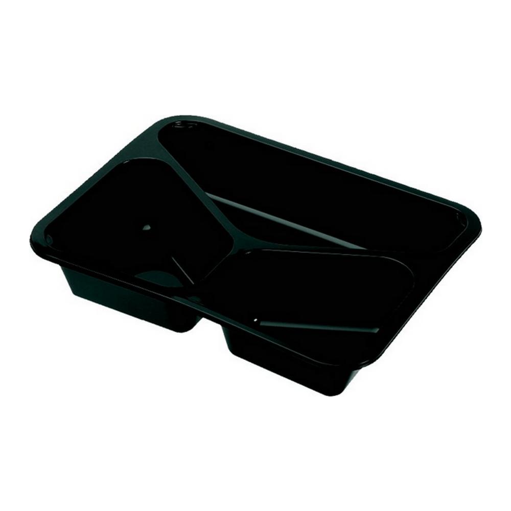 Menubak 3-vaks zwart 200 stuks