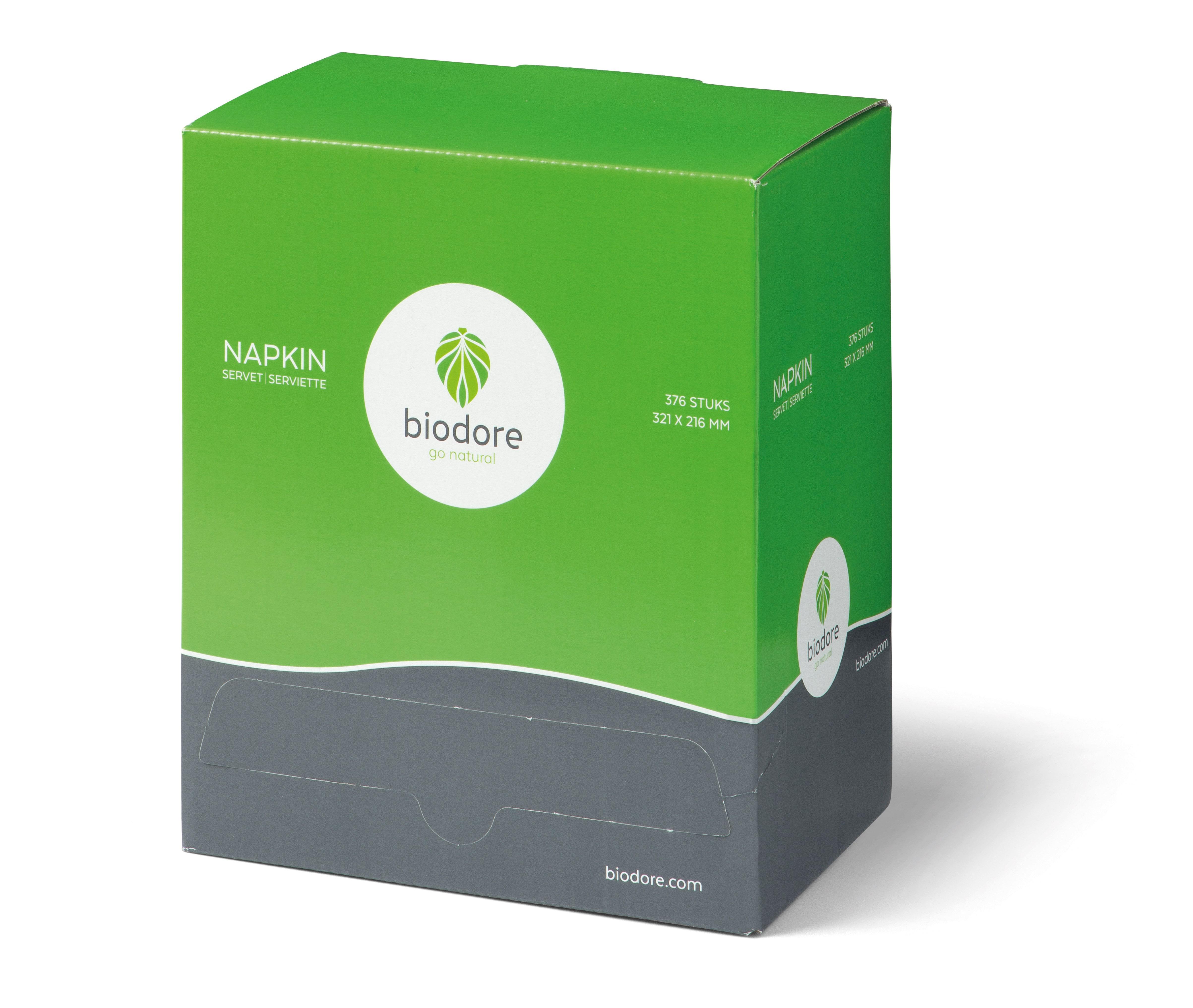Biodore papieren servetten dispenserdoos 18 x 376 stuks