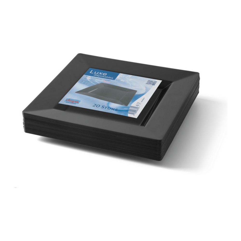 Bord Vierkant Zwart 240 ml 10 x 20 stuks
