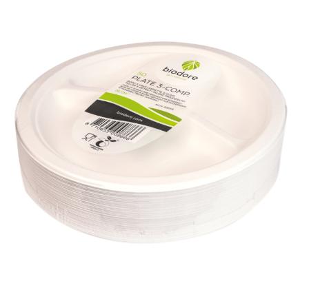 Biodore® Bord rond  3-vaks Suikerrietpulp Ø 260 mm
