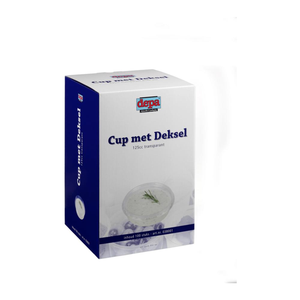 Cup met deksel 125 ml 100 stuks