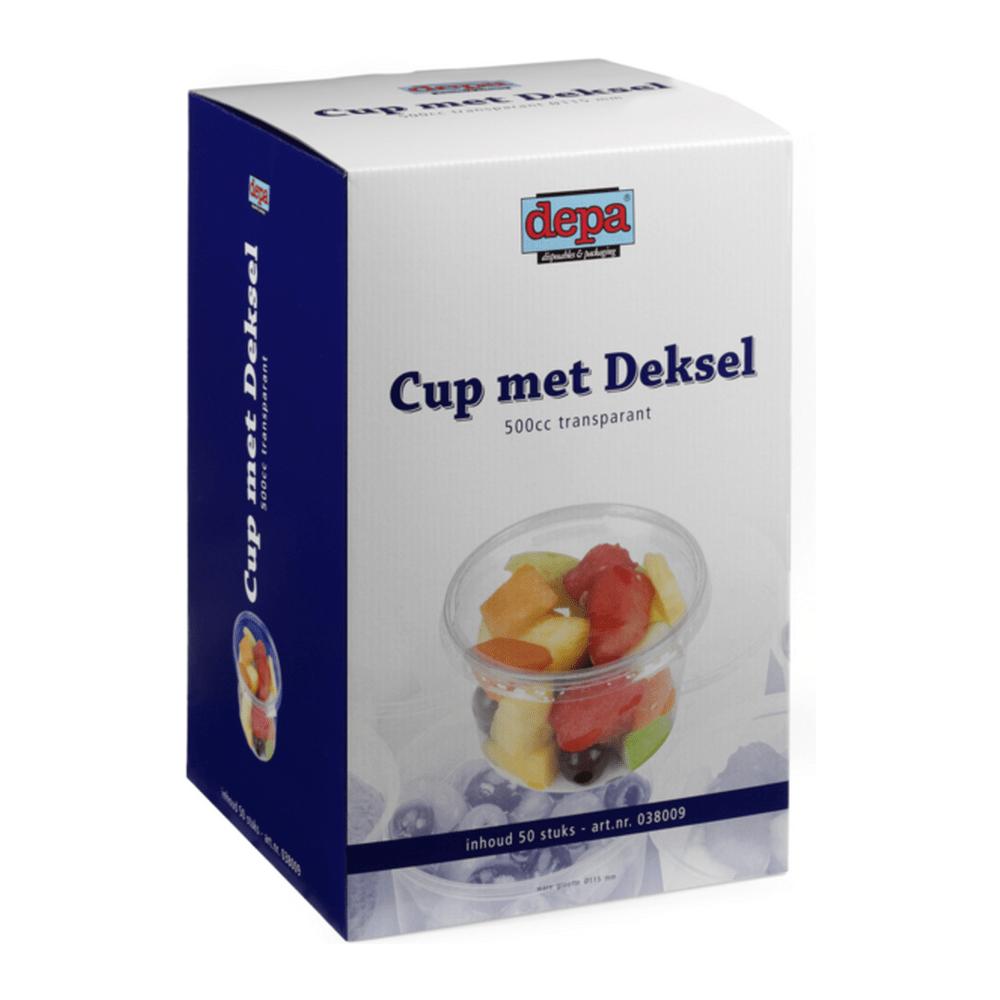 Cup met deksel 500 ml 50 stuks
