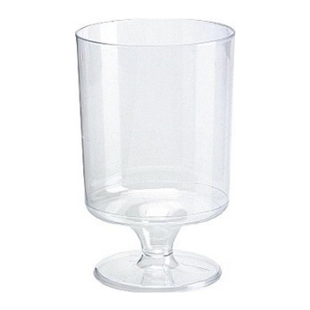 Plastic wijnglas op voet, 150cc à 70 stuks